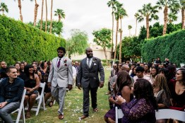 Groom walking down aisle Palm Springs