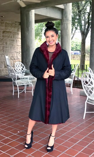 Dyed Sheared mink reversible coat