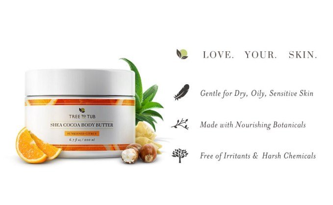 Shea Body Butter Citrus Shea Butter Body Lotion by Tree to Tub for Sensitive Skin