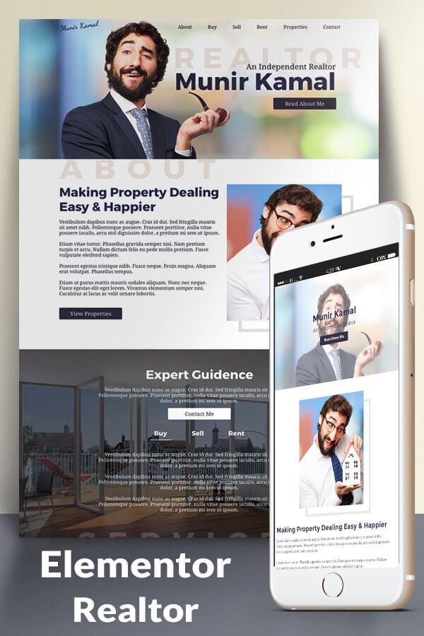 Interior design real estate company website. Realtor Website Template For Elementor