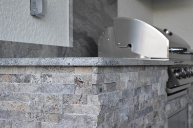Close-Up of Silver Travertine Stacked Stone - Elegant Outdoor Kitchens Custom Outdoor Kitchen Construction Services of Florida