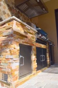 Custom Outdoor Kitchen W/ Golden White Stacked Stone Finishing