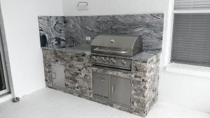 Built-in Barbecue Grill w/ Custom Outdoor Kitchen and Backsplash