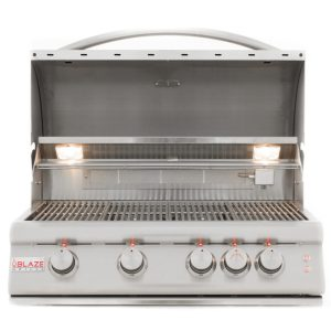 Blaze 32 Inch 4-Burner LTE Gas Grill With Rear Burner and Built-in Lighting System - Open Grill Head