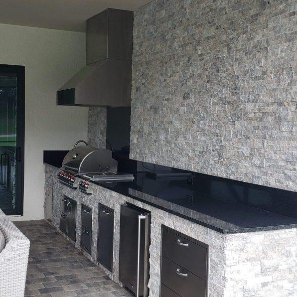 Silver Travertine Outdoor Kitchen