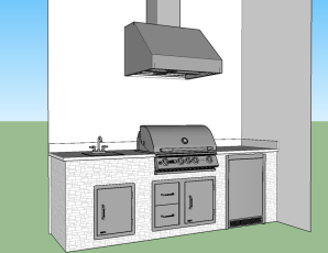 Custom CAD Barbecue Island Design