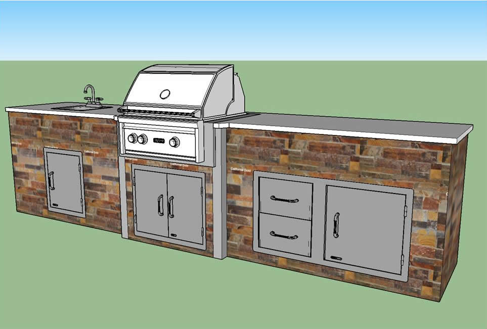 Outdoor Kitchen CAD Concept Drawing