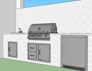 Original Barbecue Island Cabinetry Concept CAD Drawing