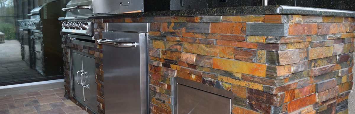 California Gold Stacked Stone and Uba Tuba Granite Counter-top