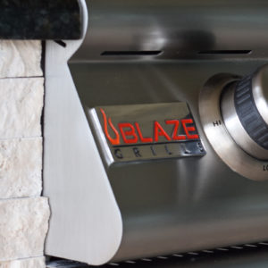 Close-up of the Blaze Logo - Professional 32 Inch Professional Outdoor Barbecue Grill