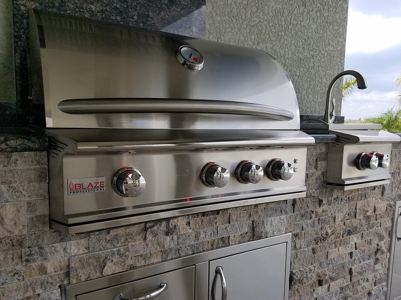 Close-up of Blaze 34 Inch Professional 3-Burner Grill