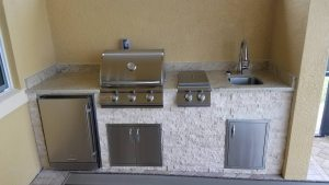 Custom Outdoor Kitchen with Blaze 3-burner 25 Barbecue Grill - Elegant Outdoor Kitchens