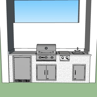 """Custom Linear Outdoor Kitchen 3D CAD Design with 25"""" Blaze Barbecue Grill and Double Sideburner"""