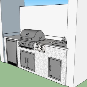 "Custom Linear Outdoor Kitchen 3D CAD Design with 25"" Blaze Barbecue Grill and Double Sideburner"
