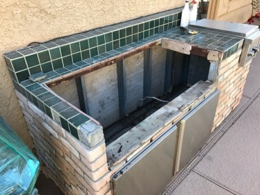 Left Side of Corroded Outdoor Kitchen Structure