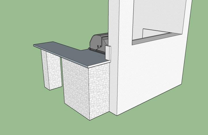 Custom Over Hang Counter-top - Rear Design View