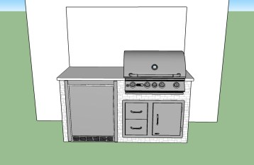 Front Facing - The Economical Custom Outdoor Barbecue Island Design