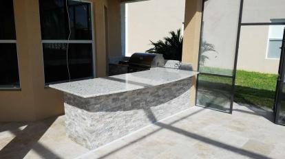 White Ornamental Granite Countertop - Barbecue Island