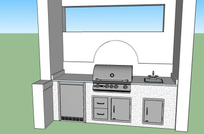 Custom 3D CAD Outdoor Kitchen Drawing by Elegant Outdoor Kitchens