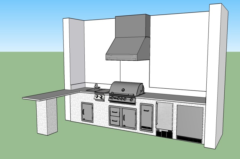 CAD - Corkscrew Shores L-Shaped Outdoor Kitchen by Pulte