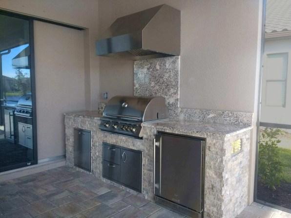 Branco Antique Granite Kitchen - Side View - Elegant Outdoor Kitchen