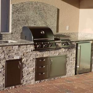 Silver Travertine stacked stone Custom Kitchen - by EOK