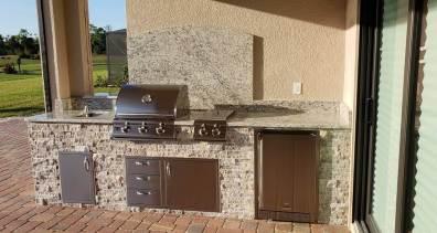 Silver Travertine stacked stone Custom Kitchen by EOK