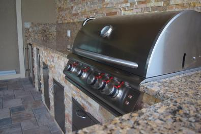 Stacked Stone with Granite Outdoor Kitchen in South Florida by Elegant Outdoor Kitchens, Fort Myers, FL.