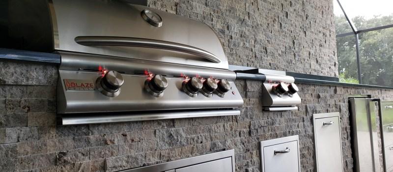 Close-up of Custom Summer Kitchen wit Blaze Components