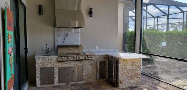 Crystalo Granite and Leonardo Stacked Stone material finish with 10 Inch Countertop arc overhang