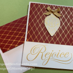 Christmas card with ornanment and paper by Stampin Up