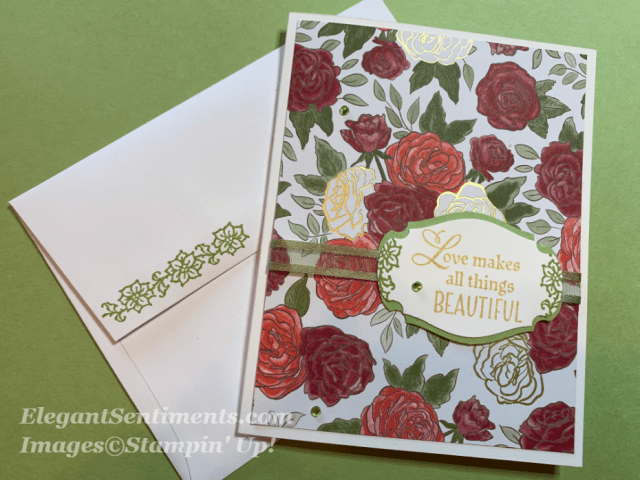 Floral Christmas card featuring Stampin Up paper