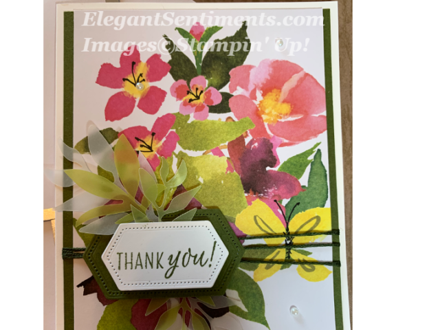 Floral thank you card made with Stampin Up products