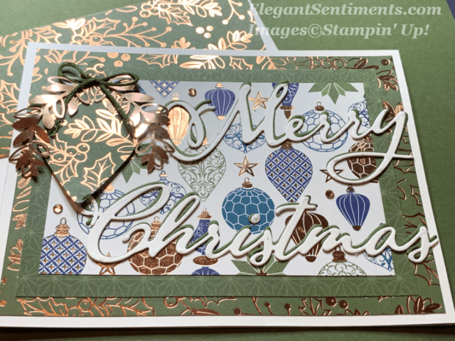Christmas card with ornaments and foil from Stampin' Up!