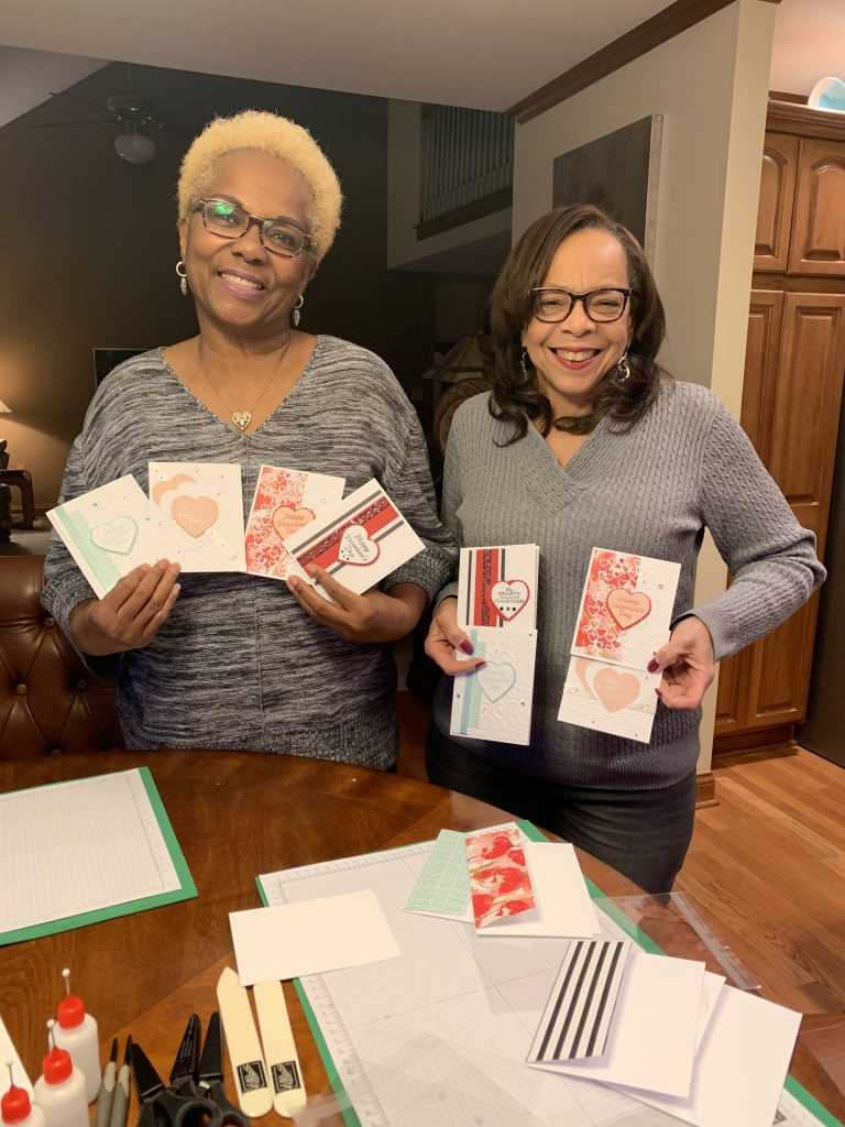 Picture of friends holding Valentines Day cards made with Stampin Up products