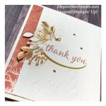 Close up of a Thank You card made with Stampin