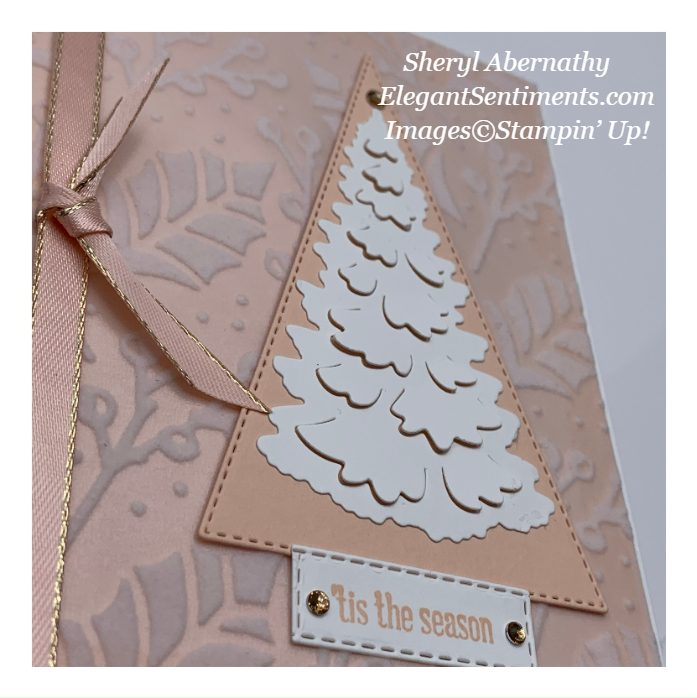 Close up of a pink Christmas card made with Stampin' Up! products