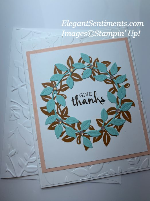 Thanksgiving card with coordinated envelope made with Stampin' Up products