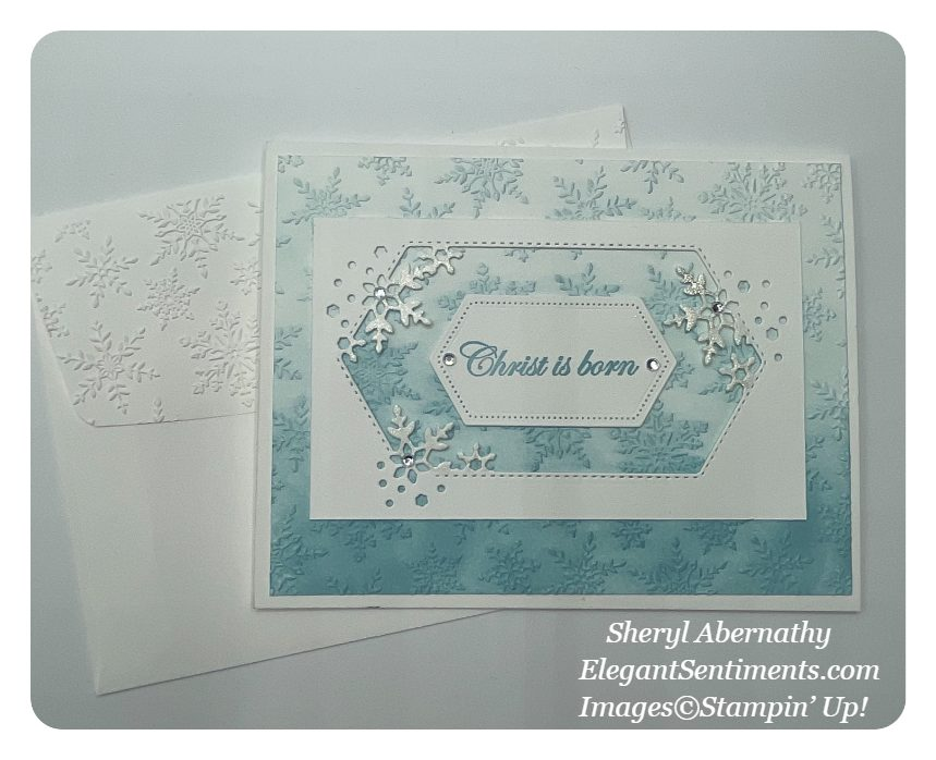 Christmas card and envelope made with Stampin Up products
