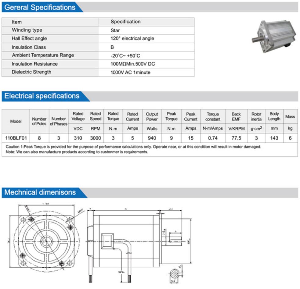 110BLF Brushless Dc Motor