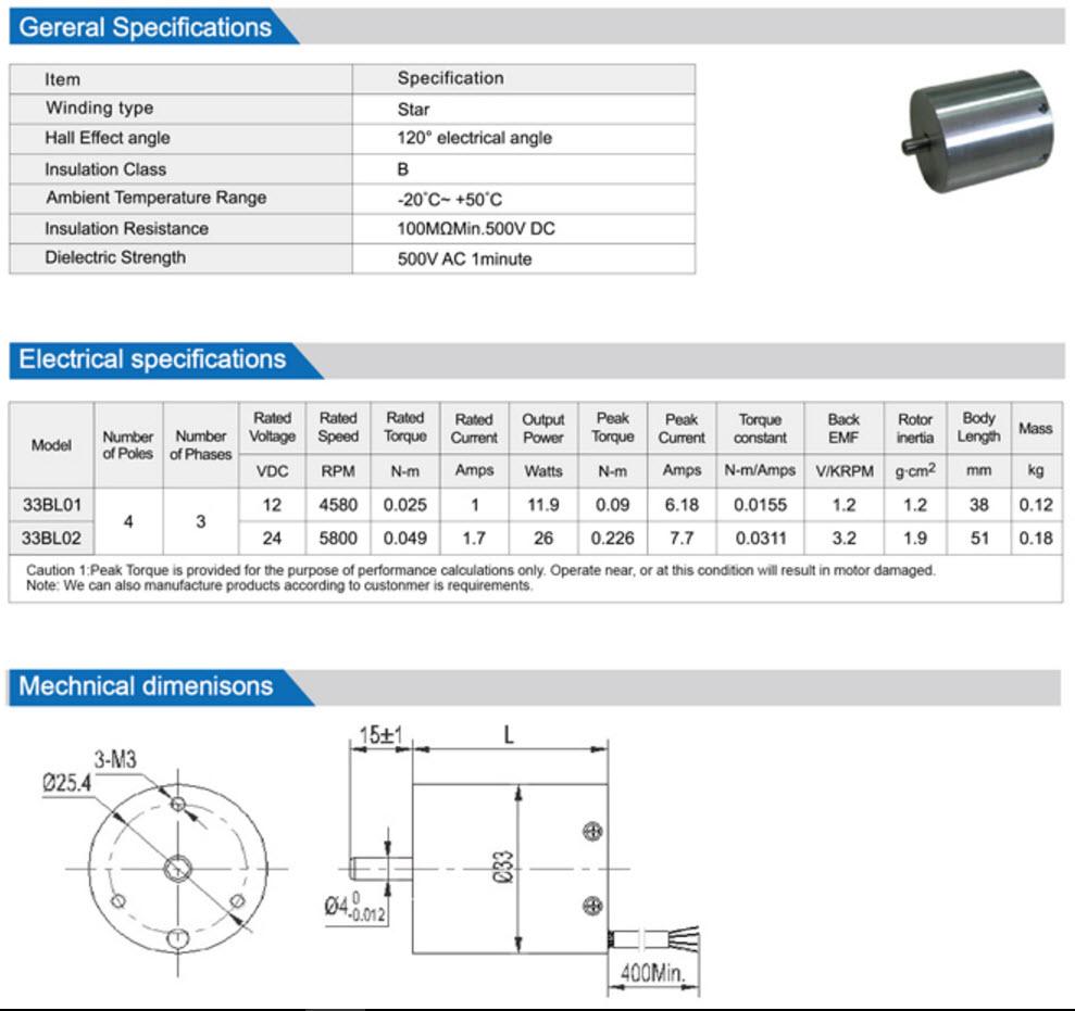 33BL Brushless Dc Motor