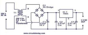 7805 li 5V güç kaynağıElektronik Hobi