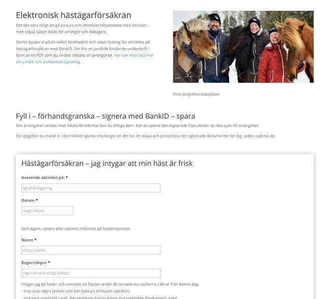 Elektronisk signering av hästägarförsäkran via formulär