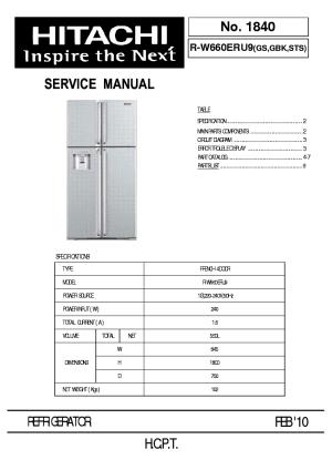 HITACHI RW660ERU9 GS,GBK,STS Service Manual download