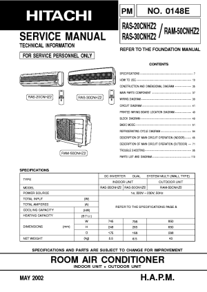 HITACHI RAC24GH4 RAS24GH4 Service Manual download, schematics, eeprom, repair info for