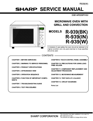 SHARP R939 BK IN W MICROWAVE OVEN SM Service Manual