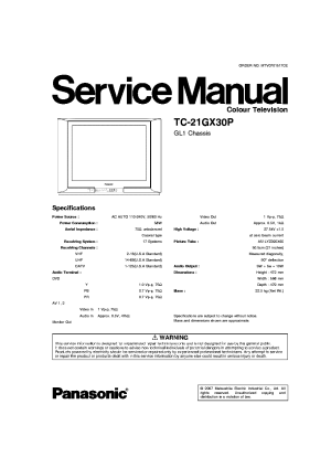 PANASONIC TC21GX30P CHASSIS GL1 SM Service Manual download, schematics, eeprom, repair info for
