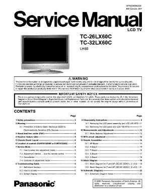 PANASONIC TC26LX60C TC32LX60C LCD TV SM Service Manual