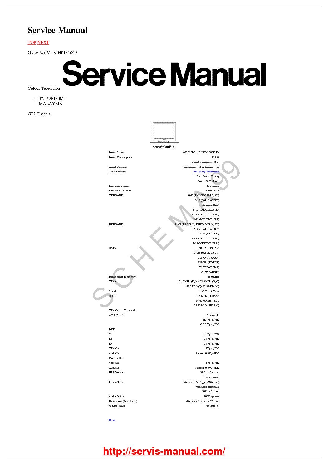 Panasonic Tc 21fx30l 29fx30l Chassis Gp41 Service Manual