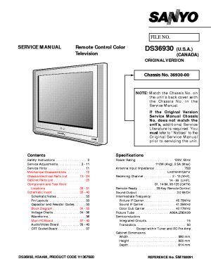 SANYO TV DS36930 SM780091 Service Manual download, schematics, eeprom, repair info for
